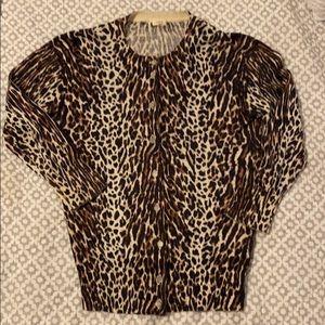 Jcrew factory ocelot / leopard print cardigan